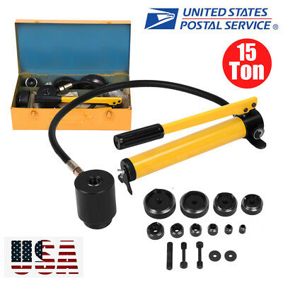 """15 Ton  1/2"""" to 4"""" Hydraulic Knockout Punch Driver Kit Tool w/ Case 10 Dies Hole"""