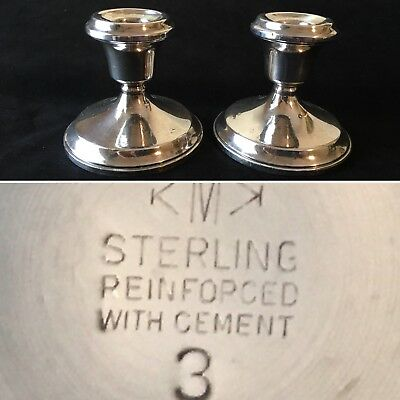 Vintage Pair of Sterling Silver Candlesticks Reinforced W/ Cement KMK