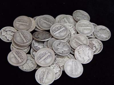 50 pieces (1 roll) of Silver Mercury Dimes 3.6 ASW (TF23)