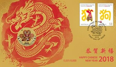 2018 Happy Chinese New Lunar Year Dragon $1 Coin - PNC Stamp & Coin Cover
