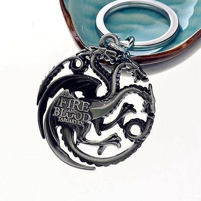 Game of thrones House Targaryen Keychain Silver Metal Key Ring