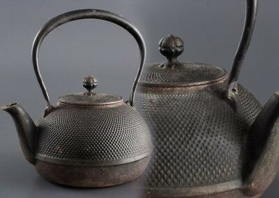 JAPANESE Antique NANBU TETSUBIN OLD IRON Tea Kettle teapot Chagama JAPAN a460