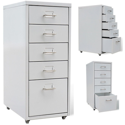 Home Office 5 Drawer Suspension Metal File Filing Documents Storage Unit Cabinet