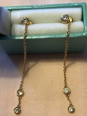 Ladies Diamonique QVC Drop Earrings Gold plate On 925 Silver Butterfly Clasp
