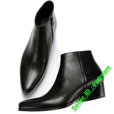 New Mens Leather Pointed Toe Ankle Boots Chelsea Chunky Heel Formal Zipper Shoes