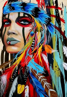 Red Indian Native American Abstract Home decor wall quality Canvas print art