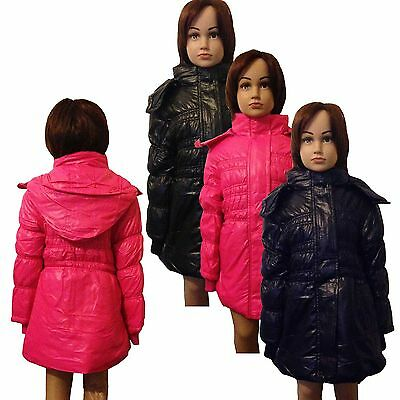New Girls WARM Winter Jacket Padded Coat Detachable Hood Lined Anorak 3-12ys #52