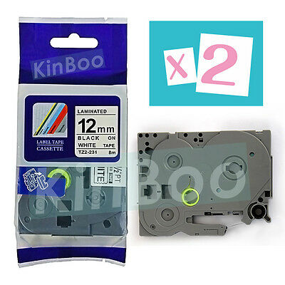 2 Pack Tape Label Compatible for Brother P-Touch TZ TZe 231 Black on White 12mm