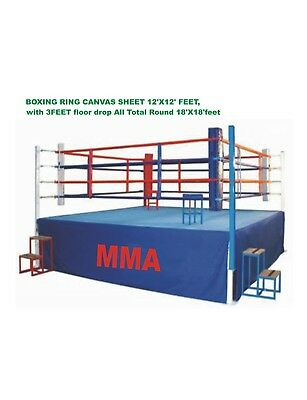 Boxing Ring Canvas Sheet 12x12 With 3 Feet Floor Drop Total Round 18 Feet 3Color