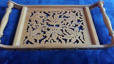 Vintage Arts & Crafts Hand Carved Drinks Tray