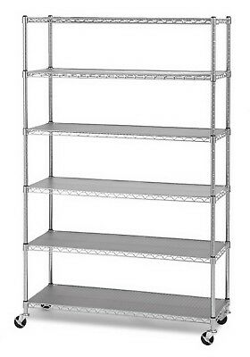 6 Shelf Chrome Metal Storage Rack Heavy Duty Steel Commercial Wire Shelving