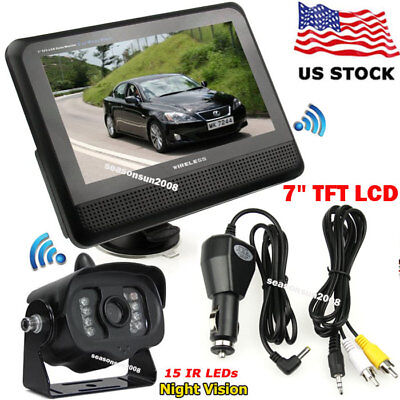 "2.4G Wireless 7"" TFT LCD Monitor +RV Bus Truck 15LEDs IR Backup Rear View Camera"