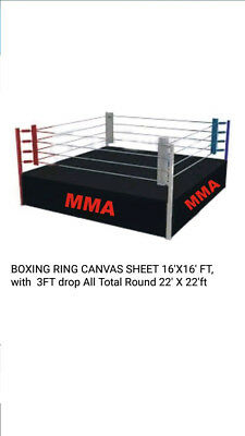 Boxing Ring Canvas Sheet 16x16 With 3 Feet Drop Total Round 22x22 Feet 3 Color