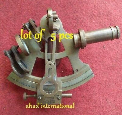 "lot of 5 pcs. VINTAGE 4"" BRASS NAUTICAL SEXTANT ANTIQUE"
