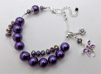 Purple Abacus ROW COUNTER Bracelet - KNITTING CROCHET