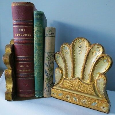 """PAIR Vintage ITALIAN Florentine SHELL BOOKENDS Gold GILT WOOD Tole FOLDING 5""""H"""