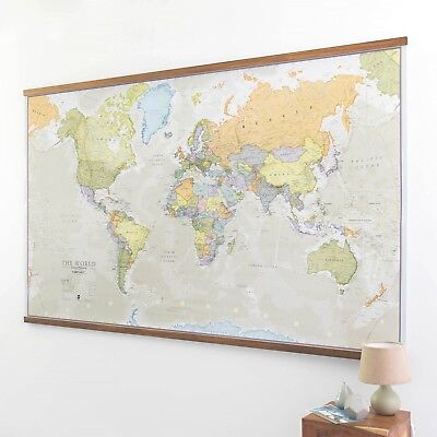 Huge Classic World Map Wallpaper Laminated Encapsulated Large 197 cm Wall Print