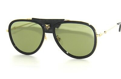 b7d86f0ef37 GUCCI GG0062S 0062S 014 GOLD GREEN LEATHER 0062 SunglaSSeS -  229.99 ...