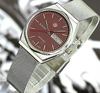 Vintage Rado Voyager Swiss Made 17Jewels Ss Automatic Men's Watch Rare Rose Dial