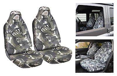 Front Grey Camo Camouflage Seat Covers Set Pair For Nissan Qashqai 2007 - 2013