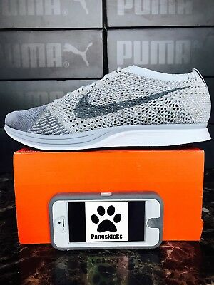 084f06070f57 NIKE FLYKNIT RACER Pure Platinum Cool Grey Size 10 862713 002 NEW ...