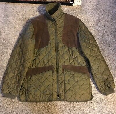 Barbour Men's Keeperwear Quilted Jacket Dark Olive Green Brown Suede S