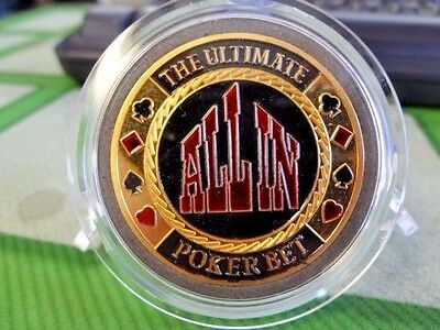ALL IN POKER BET gold color Poker Card Guard Protector W/case FREE POSTAGE