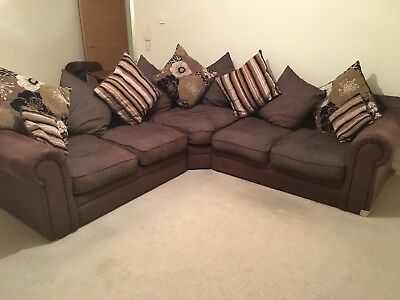 SCS   Kasbah Corner Sofa In Brown Suede Leather In Very Good Condition