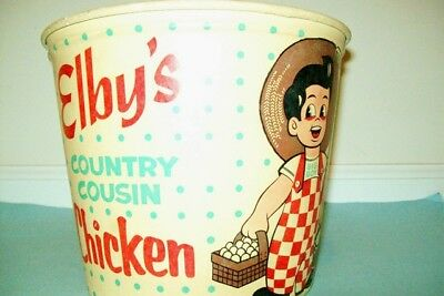 Rare 1950s Elby's Big Boy Restaurants Country Cousin Chicken Carryout Bucket
