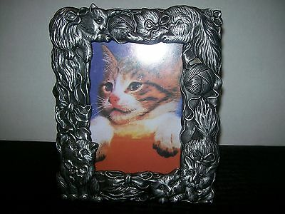 Kitty Cat Yarn Balls and Ribbon Brushed Metal Photo Frame