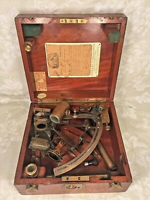 Heath & Co Brass Hezzanith Sextant in Wood Case w/ Attachments & Wood Case