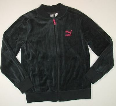 PUMA NWT gray pink velour logo JACKET girls 18 20
