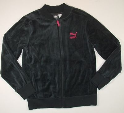 PUMA NWT gray pink velour logo JACKET girls 10 12