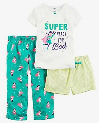 Carter's Baby Girls 3-Piece Cotton and Jersey Pajamas - NEW/NWT