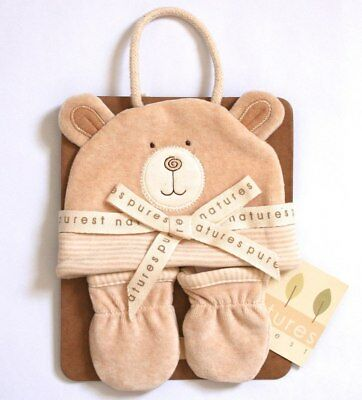 NEW Natures Purest Hug Me Bear Hat & Mitts 0-6m