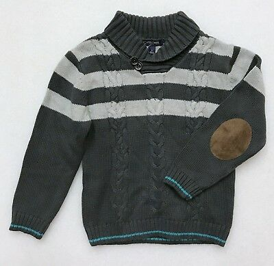 Cherokee Boy's Gray Pull Over Sweater Cowl Neck Cable Neck Elbow Pads New