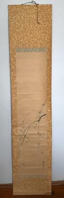 Antique Japanese Hanging Scroll Painting Blossoms