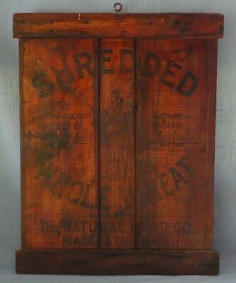 Stained Wooden Shipping Crate Lid Shredded Wheat Natural Food Company Niagara Fa