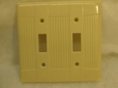 10 New Old Stock Vintage Ribbed Ivory Bakelite 2 Gang Switch  Wall Plate Covers