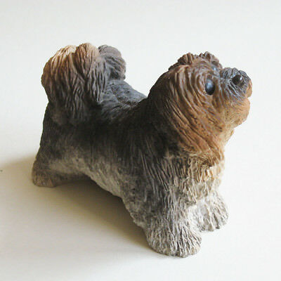Dog Figurine Lhasa Apso Painted Resin Glass Eyes