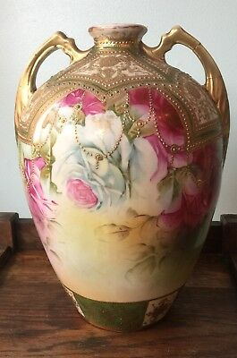Nippon Coralene Hand Painted Vase w/handles. Large 13 In. Tall Selling as is.
