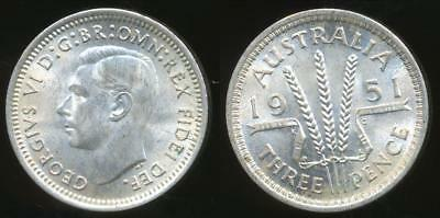 Australia, 1951(pl) Threepence, 3d, George VI (Silver) - Uncirculated