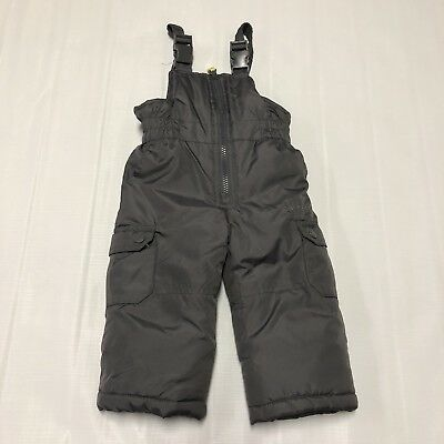 Baby Toddler Snow Suit Pants Bib Sz 12 Months Gray Adjust Straps Zip Up Pockets