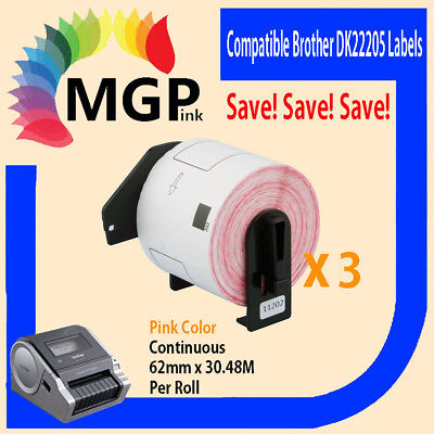 3 Compatible for Brother DK-22205 Continuous Pink Roll -62mm x 30.48m QL570