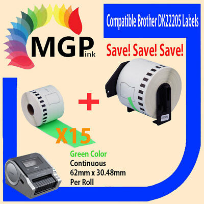 15+1 Compatible for Brother DK-22205 Continuous Green Roll 62mm x 30.48m QL570