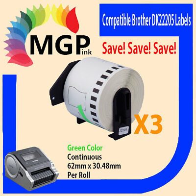 3 Compatible for Brother DK-22205 Continuous Green Roll -62mm x 30.48m QL570