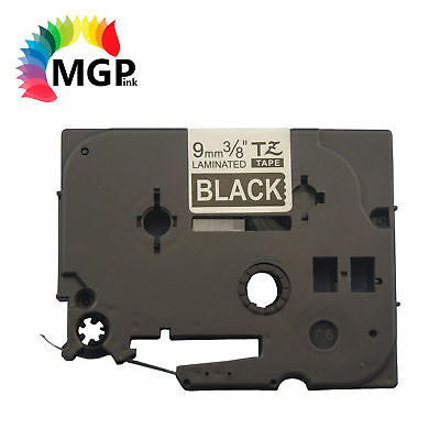 5 LAMINATED Label Tape for Brother TZ325 9mm White on BK PT-900 PT-1000 PT-1010
