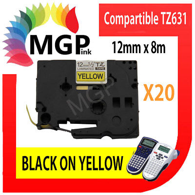 20x Laminated Label Tape for Brother TZ-631 TZe-631 Black on Yellow 12mm x 8m