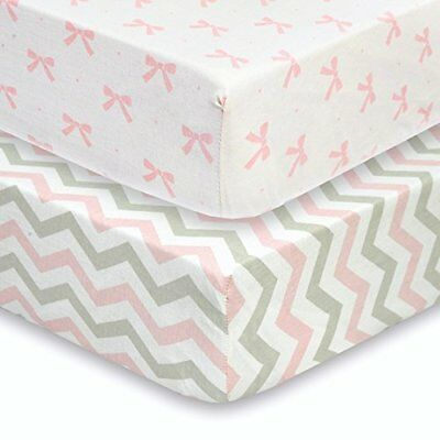 Baby Crib Mattress Sheets Set   2 Pack Fitted Sheet Grey White Pink Top Quality