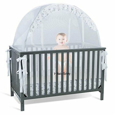 NEW SEE THROUGH MESH TOP  Baby Crib Tent Safety Net Pop Up Canopy Cover